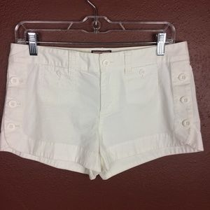 Juicy Couture 4 White Canvas Mini Shorts Buttons